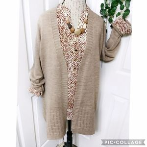 Avenue Beige Cardigan Sweater Size 16